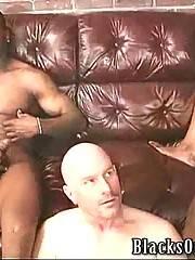 Two black men stuff white guy until feel tightness in their balls.