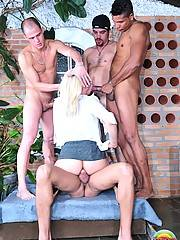 Ed and Alex are at the bar when they spot Mel across the way, a tall leggy blonde just begging to get fucked. They make their way over and buy her a drink. Soon they are back at home stripping clothes off one another when their roommates walk in. Lukas an