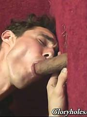 Curly fallow passionately sucks black dick through glory hole.