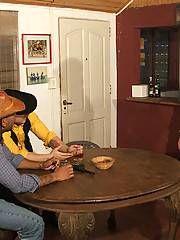 Sexy blond bartender shows a couple of gay cowboys his cocksucking and assriding skills