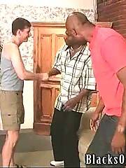 Naughty white dude visits two horny black buddies.