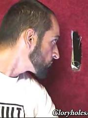 Tattooed bearded man wants to have some glory hole fun.