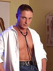 This muscular doctor has a big cock that is totally rock hard, very nice indeed.