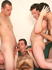 Four horny boyfriends stretching asses and sharing cumshots in this hot bareback gallery