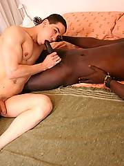 Sexy white boy getting nailed by black monster-cock and giving deepthroat blowjob
