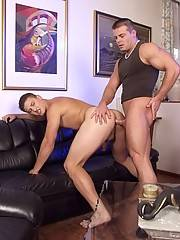 Two young muscle hunk boyfriends go down on each other, two huge cocks getting sucked.