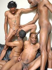 When you've got 4 hot, horny black guys with huge monster dicks, then you know there's some serious action about to go down! This time, it's Brooklyn, Mr. Pipe'm, T.Y. and Wishes all tagging each others' smooth black asses! They don't both with formalitie