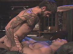 Now here's what you'd call two happy campers. After some deep-throating action and a bit of cock-docking, Logan McCree gets royally rammed by muscle man Vinni...