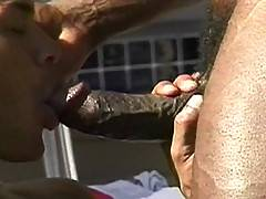 Now here's a sex party you'd kill to be a part of. A whole host of hot black guys congregate by the pool for an outdoor gangbang extravaganza. The interracial...
