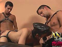 Hot threesome leather boy orgy starts