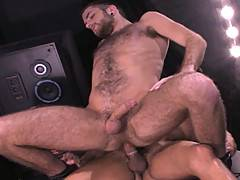Hot, hairy RJ Danvers is worked up and ready to drop to his knees for Latino Pistol Pete. RJ takes every inch of the Latin studs cock into his mouth making it r...