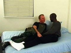 Sexy army man deep analized horny black man on bed