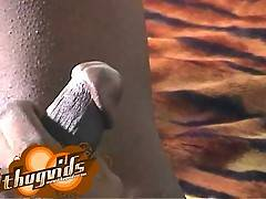 Black rasta dude jerking off his big black cock