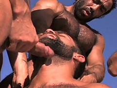 When it comes to gangbangs, we can't think of a better team-up than these six gentleman. Of course, we hesitate to call them gentleman with all the hot outdoor sex they get up to. The big desert suckfest sees Steve Cruz put to work on the bronzed beauties