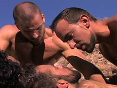 In an arid landscape, these six sexy outdoor fuckers let loose with their cocks on each other's sweaty assholes; sucking and fucking each other with nothing bu...