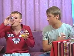 Sexy twink lets his new friend get drunk before sucking his cock and fucking his tight ass