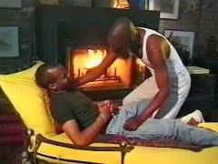 Black men with big cock fuck near fireplace