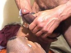 Close up of horny dude ass rides on big black cock