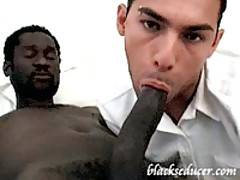 Horny black man gives cute white boy some nasty rectal and deepthroat fucking
