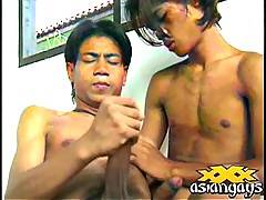 Schoolboy threesome horny asian boys getting into hardcore gay sex