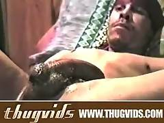 Ebony thug goes for a solo jack off cum spurting session