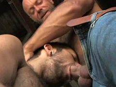Three hairy mature cowboys like team anal act
