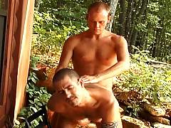 Jock gets fucked bareback outdoors by a big thick cock