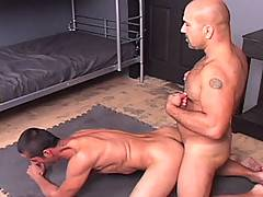 Muscleman Patrick Ives and Sebastien B get all up in each other's junk. Patrick is impressed that Sebastien can suck his own big uncut cock (as we all are) and the duo flip fuck in a sling. Sebastien then pisses all over himself to cool off before it's al