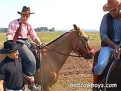 Pretty white cowboy gets robbed, assfucked and face-fucked by Black Mustang and Billy the Kid