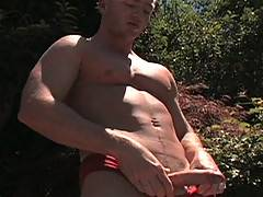 Brendan Austen takes time out after his dip in the pool to whip off the speedos and pull his huge, uncut cock into a big cummy mess. The smooth, built hunk will...