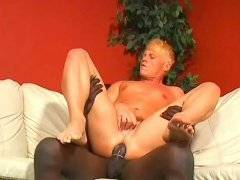 Big black cock drilling lovely white stud in ass