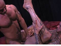 First Logan fucks hairy boy favorite Jake Deckard's throat with his huge tattooed piece. Jake is quite a cocksucker and takes the intense throat fuck with rapt...