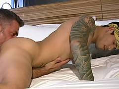 Draven Torres is interviewed by Steve Cruz. He talks about music, sports and what turns him on. Steve convinces him to take off his clothes and asks him if he would like a fluffer. Bruno Bond is happy to help out the sexy, inked boy. They kiss and Bruno s
