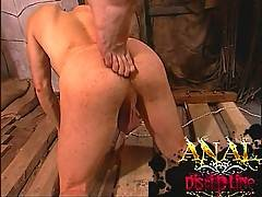 Playing with his ass with his feet turning him on