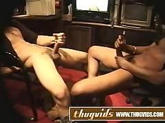 Two ebony amateur guys jerk off their big cocks