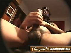 Ebony amateur guy jerks off his big cock