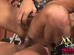 Hardcore leather orgy threesome action