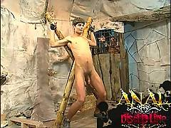 Tied up twink gets spied on and then played with