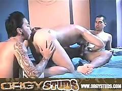 Threesome of college boys, sucking rimming and fucking at the same time