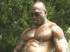 Muscle black man ass drilling white stud outdoor