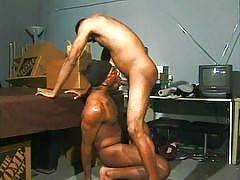 These thug guys are hot, well-hung hunks who have muscular and well defined dark chocolate bodies. The ebony stallions inside are sucking dick and giving a good ass fucking to each other. These horny dudes just can't get enough dick in their ass and they'