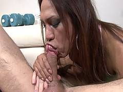 Tanned muscle tranny Angeli gets a real workout from Ozzy in this video. After putting her own exercise machinery to good use and giving Ozzy's hole a taste of dark slab of shemale meat, her ass takes a whopping great pounding in return from his thick unc