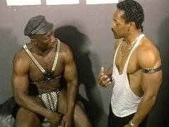 Young black studs satisfy mature man with big cock