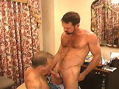 Billy Wild, All-American cum junkie, takes a quart of jizz up his ass in this sperm-saturated bareback gangbang where a room full of cum-spurtin' studs leave Billy's ass a cum-sloppy public access hole.