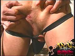 Finger fucking his slave boy getting him ready for a big cock anal fuck fest