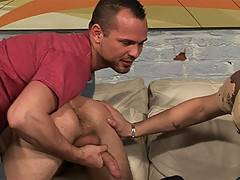 Kayl is a cute young thing with our favorite kinds of fetish, a fetish for HUGE COCK! We liked Kayl's boyish good looks so much we had to give him not one first huge cock, but two! We got right down to business with one big gay cock in his mouth and anoth