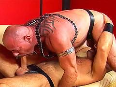 Peter Moore whacking his big cock and blowing a mega load on Scott Gable