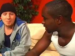 Black man ass drilling pretty white stud on sofa