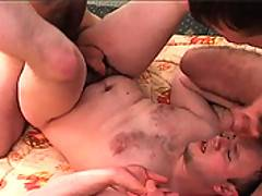 Group project turns into 2 college buddies nailing their buddy giving him a cock up the ass and another in his mouth
