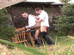 Rod and Skyboy get really rough in this outdoor fuckfest. Rod takes command of his smaller companion grabbing him around the neck and kissing him, fingering his tight hole and then shoving his fat cock inside him for an aggressive pumping of his ass. Skyb